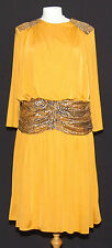 GREAT SLIMSHOW BRONZE POLY JERSEY DRAPED 1980's DRESS + TIGER PRINT DETAILS 14