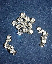 STAR RHINESTONE PIN, SILVER PRONGS, UNIQUE & OLD &  CLIP LEFT/RIGHTEARRINGS