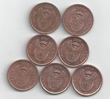 7 - 5 CENT COINS from SOUTH AFRICA (2004, 2005, 2006, 2007, 2008, 2009 & 2010)