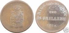 DANEMARK, FRIEDERIK, jeton monnaitaire en cuivre, 16 Skilling 1814 VF - 3