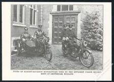 1921 Amsterdam Holland Police Harley Davidson motorcycle photo print article