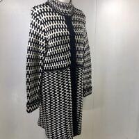 Cynthia Rowley Lambs Wool Blend Black Ivory Knit Coat Knee Lenght Womens Size L