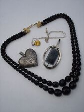 Vintage jewellery costume and silver set flovers engraved victorian heart