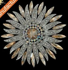 GORGEOUS 18K WHITE GOLD PLATED CLEAR/CHAMPAGNE RHINESTONE ROUND BROOCH/PENDANT