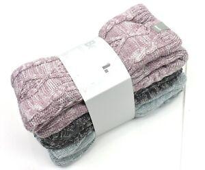 Bench Ladies' Sherpa Fleece Lined Slipper Socks 3 Pairs, Fit Shoe Size 4-10