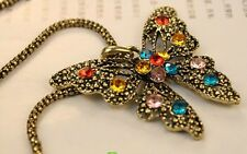 Fashion Women Necklace Watch Antique Bronze Butterfly Long Chain Jewelry Xmas