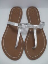 TORY BURCH Leighanne silver metallic leather bow logo thong sandals 8 WORN ONCE