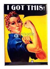 """Vintage ROSIE THE RIVETER """"I GOT THIS""""  2"""" x 3"""" Fridge MAGNET GIRL POWER"""