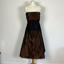 Laura Ashley Brown Taffeta Lace Aline Strapless Party Cocktail Dress Size 12