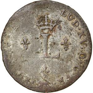 [#856732] Coin, France, Louis XV, Double sol (2 sous) en billon, 2 Sols, 1738