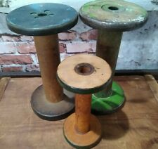 VINTAGE LOT OF 3 INDUSTRIAL WOOD TEXTILE MILL THREAD SPOOLS GREEN