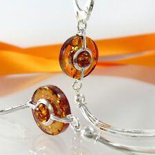 A048 aretes 925 Sterling joyas de plata con borlas y bernstein Amber
