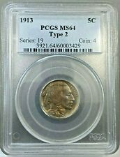 1913 Type 2 5c Buffalo Nickel Coin PCGS MS64