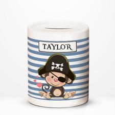 Personalised Pirate Monkey Kids Children's Savings Money Box Gift Idea