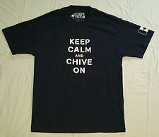Keep Calm and Chive On KCCO Men's Navy Blue Canadian Flag T-Shirt Size Large L