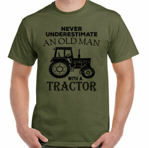 Tractor T-Shirt Mens Funny Farmer Never Underestimate An Old Man With A Driver