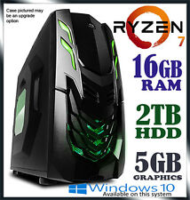 AMD Ryzen 1700 8-Core 3.7GHz 16GB DDR4 RAM 2TB Desktop Computer Gaming PC bt i7