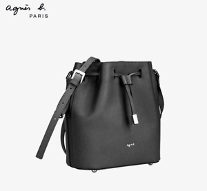 AGNES B agnès b. Voyage Small Bucket Bag Dark Grey Leather rrp $495 AS NEW