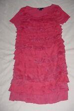 EUC Gap Kids Girls FAIRYTALE Dark Pink Ruffle Front Knit Party Dress Size L 10