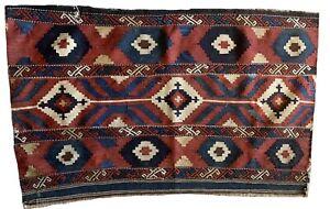 Beautiful 19th cent Turkish hand woven kilim fabric 5621