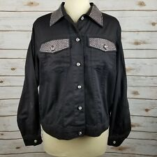 Get Lucky Black Denim Rhinestone Studded Embellished Button Down Jacket Size S
