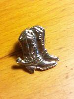 Vintage Cowboy Boots Spurs Silver Tie Tac Hat Vest Lapel PIN Rare Scatter Tack