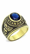 Ring w/ Blue Solitaire Size 9 Men's Us Military Gold Stainless Steel Navy