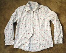 ORVIS floral size 10 long sleeve 100% cotton blouse button shirt