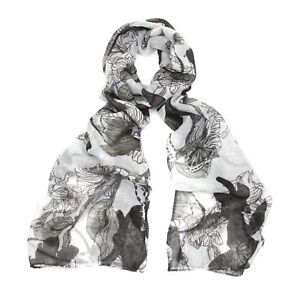 Black & White Floral Line Print Scarf / Hijab / Headscarf / Face Covering