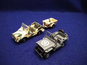 SOLIDO 1/43 JEEP MERCEDES AUTO UNION # 212 w/Trailer # 213 & JEEP WILLYS # 1322