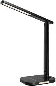 TOPELEK LED Desk Lamp, Eye-Caring Office Table Lamps with Night Light, 10 5 USB
