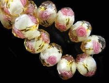 10pcs Rondelle Glass Rose Flower Inside Lampwork Glass Spacer Beads 8 10 12mm