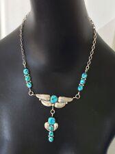 Vintage Sterling Silver & Turquoise Necklase Navajo 11 Stones Leaves & Pendant