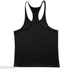 Mens Gym Tank Top Bodybuilding Athletic Fitness Y BACK Racer Sport Vest