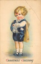 Merry Christmas 1924 Postcard Boy With Christmas Cards Letters In Pocket