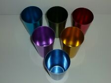 "Set of 6 Vintage Anodized Aluminum Tumblers Different Colors 5 1/4"" Tall"