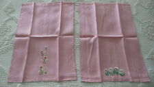 Vintage Linen Embroidered Guest Towel Pair FLORAL ON PINK Daisies