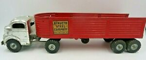 Vintage 50's Structo Steel Company Semi Tractor Trailer Truck Pressed Steel Toy