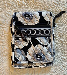 "$45 Vera Bradley Mini Hipster ""Camellia"" Crossbody Purse  Black Gray White NWOT"
