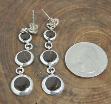 92.5 sterling silver circle layers earrings, coconut wood inlay, lightweight
