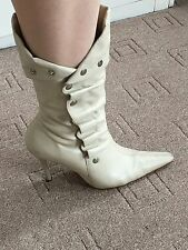 RIVER ISLAND WOMENS CALF LENGTH BOOTS SIZE UK 6 IN CREAM WITH STUDS