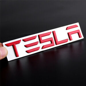 For Tesla Model 3 S X Y Red Car Fender Side Emblem Front Hood Rear Trunk Badge