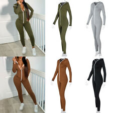 New Women Pants Hooded Playsuit Overall Jumpsuit Bodycon One-piece Romper Zipper