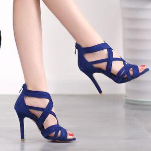 Women's Stilettos High Heels Cross Strap Sandals Fashion Open Toe Back Zip Shoes