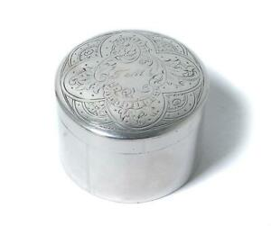 Silver round pill box (or trinket box). Sweden, year 1863, Pehr Ericson.