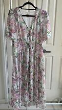 H&M White/ Floral Chiffon Maxi Dress Size 10