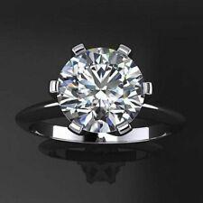2 Carat Round Cut White Moissanite 14k White Gold Six Prong Engagement Ring