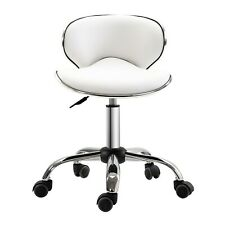 Beauty Spa Salon Stool in White and Chrome with Hydraulic Lift and on Castors