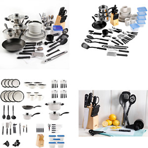 83-Piece Combined Kitchen Set In 1 Box With Cutlery Tableware Utensils Black