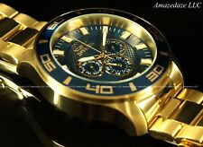 NEW Invicta Mens Prodiver 14k Gold Plated Stainless Steel Blue Dial Watch !!